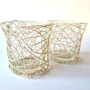 Home Decor Abstract Wire & Glass Candle Holders